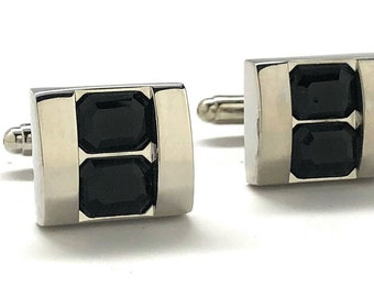 Double Stacking Black Crystal Cufflinks Silver Tone  Professional Design Classy Look Cool Cuff Links Comes with Gift Box