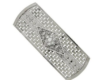 Silver Crystal Large Rectangle Barrette, Hair Accessories