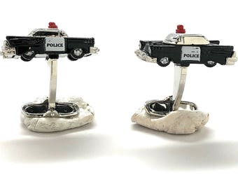 Old School Retro Police Car Cufflinks 3D Fun Design Detailed 1950/'s Police Department Sheriff Law Enforcement Cuff Links Comes with Gift Box