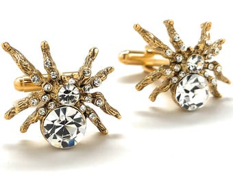 Lucky Spider Cufflinks Gold Tone Walking Crystal Spider Cool Fun Highly Detailed Design Cuff Links