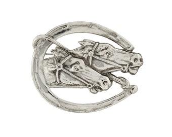 Shawl Pin, Silver Horseshoe and Horses Pin