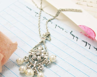 For My Darling Pearl Necklace Drop Pendant Necklace Silver Toned Crystal Silk Road Jewelry