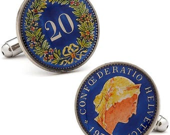 Birth Year Enamel Cufflinks Hand Painted Blue Swiss Authentic Currency Enamel Coin Jewelry Switzerland Cuff Links Unique with Gift Box