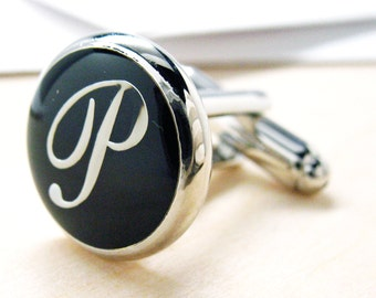 P Cufflinks Initials Silver Toned Round Black Enamel Script Letters Cuff Links Groom Father Bride Wedding Anniversary Father's Day Gift Box