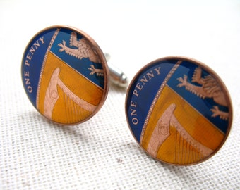 Enamel Cufflinks British Coins Yellow Blue Hand Painted England Enamel Coin Jewelry World Cuff Links One Penny Coin Cufflinks with Gift Box