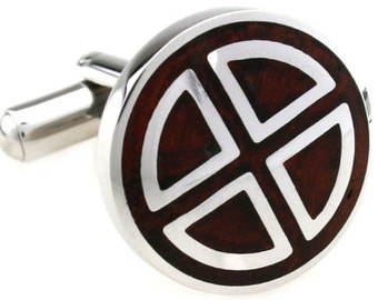 Shiny Silver Stainless Steel Cross Triangle with Cherry Wood Inlay Finish Cufflinks