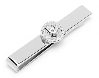 Tie Bar Golf Ball Unique Sterling Silver Crystal Golf Ball Tiebar Bar Fathers Day Gift