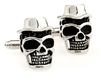 Skull Cufflinks Silver Voodoo Witch Doctor Live and Let Die Cufflinks Cuff Links Skull Halloween Cuff Links Novelty Fun Part Cool
