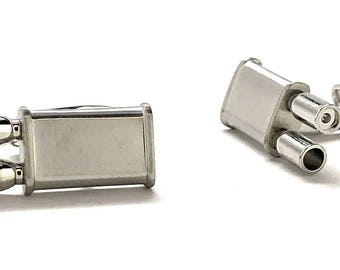 Silver Racing Exhaust Cufflinks Muffler Cufflinks Brushed Sports Car Automobile 3D Design Cool Fun Unique Car Guy Comes with Gift Box