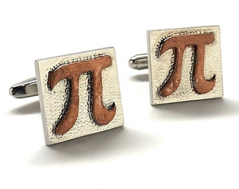 PI Symbol Cufflinks Silver with Rustic Copper Hammered Block Math Wizard Sign Mad Scientist Cuff Links Teacher Gift Comes Gifts for Him Gift