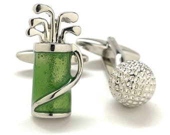 Golf Ball and Green Golf Bag Cufflinks for the Love of the Game Tournament Fun Cool Cuff Links Comes with Gift Box