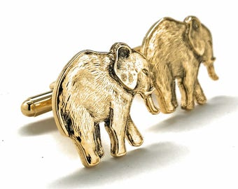 Elephant Cufflinks Gold Tone Majestic Antique Beautiful Walking Elephant Cool Cuff Links Comes with Gift Box