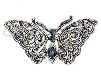 Glistening Butterfly Barrette Silver Blue with Sapphire Color Crystals Elegant Hair Barrett