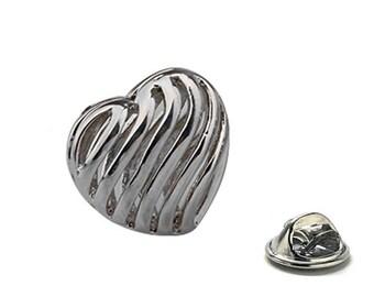 Silver Ribbon Heart Lapel Pin, Enamel Pin
