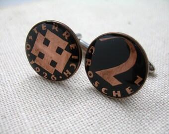 Enamel Cufflinks Hand Painted Enamel Coin Jewelry Republic of Austria Coins Cuff Links German World Travel Souvenir Very Cool Rare Vintage