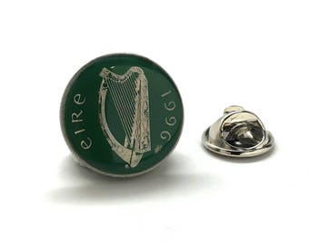 Enamel Pin Collector Hand Painted Irish Enamel Coin Lapel Pin Tie Tack Travel Souvenir Ireland Coins Keepsakes Cool Fun Comes with Gift Box