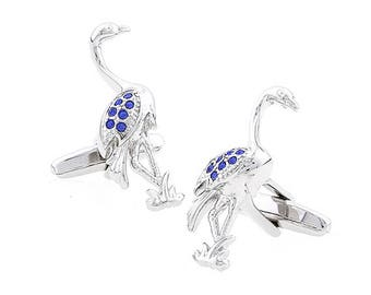 Silver Dakota Blue Crystals Flamingo Cufflinks Flying Wild Bird Fowl Crane Cuff Links Comes with Gift Box
