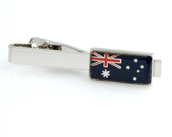 Silver Toned Etched Cuba Flag Square Tie Clip