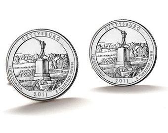 Gettysburg Cufflinks, National Military Park Quarters 2011 Pennsylvania Uncirculated Coins