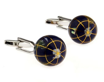 Silver Tone Cufflinks Navy Blue Enamel Globe See the World Traveler Cuff Links Comes with Gift Box