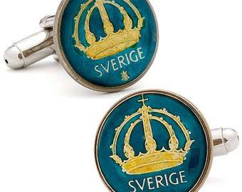 Enamel Cufflinks Hand Painted Swedish Enamel Coin Jewelry Blue Enamel Crown Coins Sweden Cuff Links Keepsake Very Cool Unique World