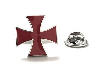Knights Cross Enamel Pin Gothic Cross Lapel Pin Religious Faith Pewter Black Crystal Blue Viking Cross Tie Tack