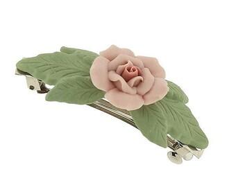 Pink Porcelain Rose Barrette Silver Tone Elegant Green Leaf Twists Hair Barrett Wedding
