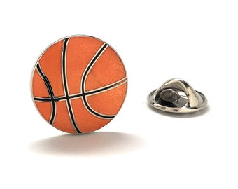 Enamel Pin Basketball Lapel Pin 6 Different Styles to Choose From Tie Tack Basket Ball Court B-Ball