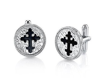 Silver With Black Enamel Cross Cufflinks Religious Collection Round Faith Cuff Links