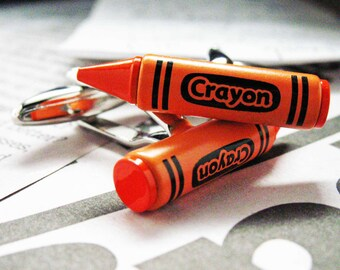 Crayon Cufflinks Orange Enamel Classic Artist Fun Kids Cuff Links