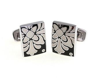 Powder Mountain Cufflinks Black White Enamel Bloom Tile Whale Tail Post Cufflinks Cuff Links Classic Style Dress