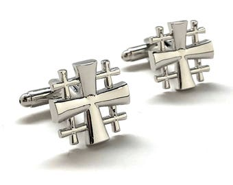 Jerusalem Cross Cufflinks Cut Out Design Silver Tone 3D Christian Faith Religious Gospel Greek Crosses Cool Cuff Links Comes with Gift Box