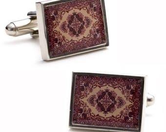 Persian Rug Cufflinks Genie Magic Flying Carpet Ride Cuff Links Unique Cool Fun Fresh Idea Comes with Gift Box