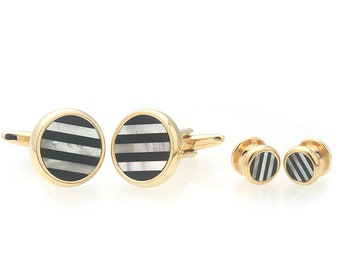 Gold Mother of Pearl Onyx Stripe Cufflinks with Matching  4 Shirt Studs Silver with Cuff Links Shirt Studs Comes with Gift Box