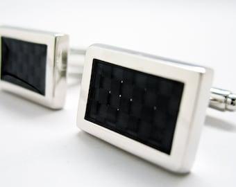 Modern Cut B Squared Cufflinks Silver Toned Black Inlay Classic Cuff Links