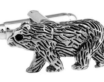 Walking Bear Cufflinks Silver Tone with Black Enamel Grizzly Bear Cuff Links
