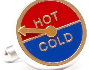 Hot and Cold Dial Cufflinks with Moving Pointer Hot and Cold Games Cuff Links Clever Unique Cuff Comes with Gift Box