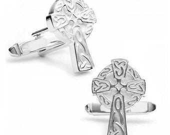 Sterling Silver Cufflinks Middle Ages Carved Celtic Cross One of a Kind Cufflinks Cuff Links