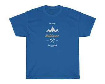 Camping T Shirt Unisex Heavy Cotton Tee Outdoors Fishing Hunting Mountains Tee Shirt