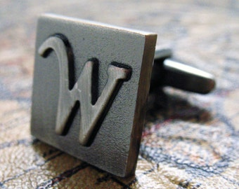 W Initial Cufflinks Gunmetal Square 3-D Letter W Vintage English Letters Cuff Links Initials for Groom Father of the Bride Wedding Gift Box