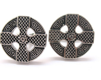 Wedding Cufflinks Celtic Cross Cufflinks Full Raised Details Silver Tone Cuff Links