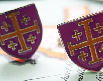 Crusader Cross Cufflinks Purple and Yellow Enamel Shield Cuff Links