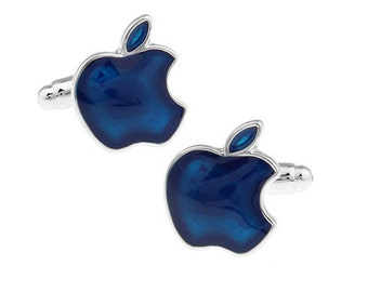 Blue Apple Cufflinks Technology School Education Computers Cuff Links Comes with Gift Box Teacher Gift