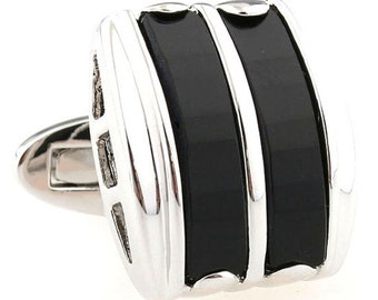 Black Inlaid Cufflinks Designer Silver Tone with Inlaid Stripes Classic Style Cuff Links Wedding Cufflinks Groomsmen Cufflinks