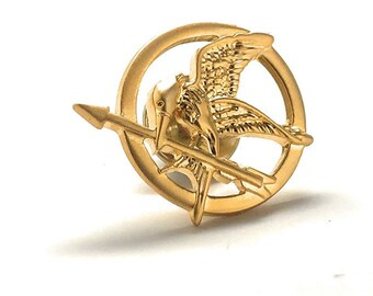 Gold Mocking Jay Lapel Pin Mockingbird Flying Bird Enamel Pin Comes with Box
