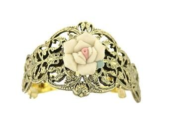 Gold Ivory Porcelain Rose Pony Tail Holder Elegant Hair Barrett Beautiful Gift