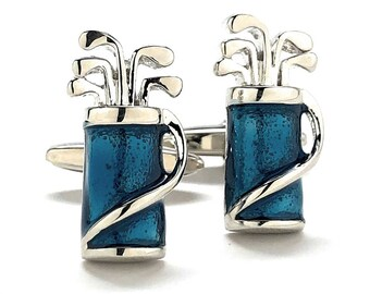 Blue Golf Bag Cufflinks for the Love of the Game Tournament Fun Cool Cuff Links Comes with Gift Box