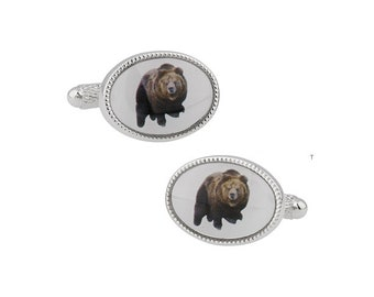 Bear Cufflinks Alaskan Silver Back Brown Grizzly Bear Mountain Animal Cufflinks Cuff Links