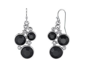 Jet Black Chanel Cluster Crystal Earrings, Black Tone
