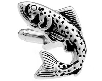 Silver Trout Fish Cufflinks  Fish Sports Jewelry Great Gift for the Outdoorsman Cuff Links